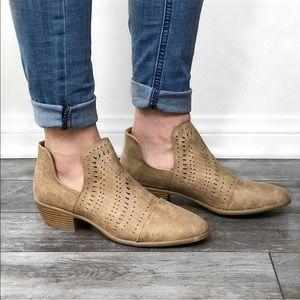 TRISH🖤 cutout suede booties taupe tan low heel